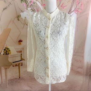 Alice by Temperley Fleur Ivory Lace Button Down Cu